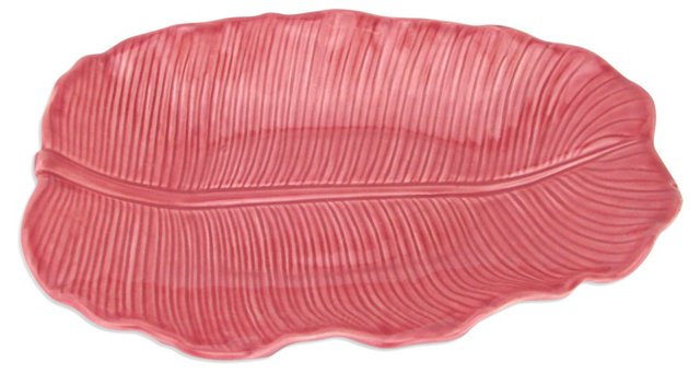 Metlox Pink Banana Leaf Serving Platter