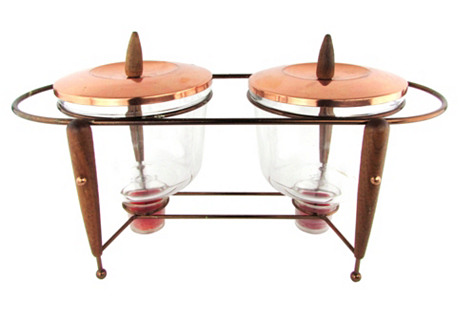 Copper Lid Pyrex Chafing Dishes w/ Stand