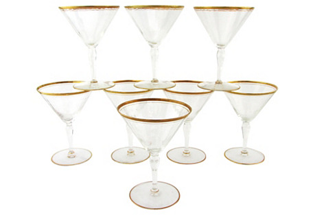 Crystal Martinis w/ Gold Bands, S/8