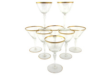 Crystal Cocktail Glasses, S/8