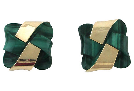 Carved Malachite & 14k Gold Paperweights