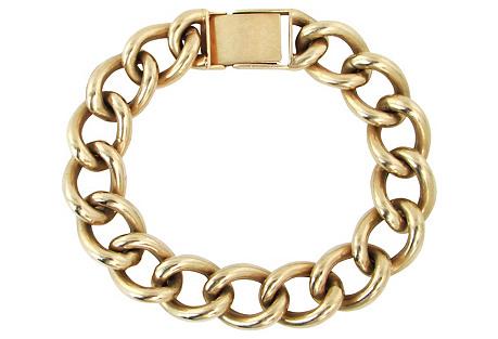 Heavy Solid Link 14k Gold Bracelet