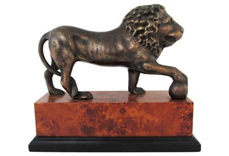 Bronze Lion on Pedestal