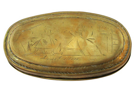 Antique Hand-Engraved Brass Box