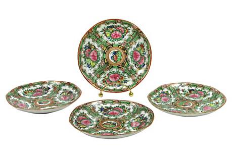 Antique Rose Medallion Plates, S/4