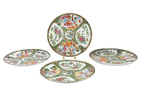 Antique Rose Mandarin Plates, Set of 4