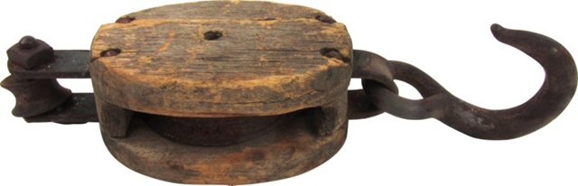 Rustic Wood & Iron Boat Pulley