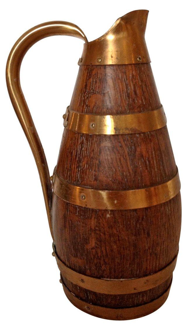 French Wood & Brass Wine Jug
