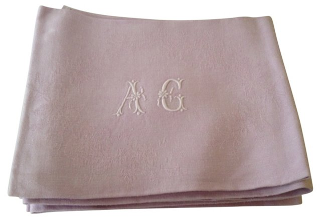 French  Monogrammed Napkins, S/6