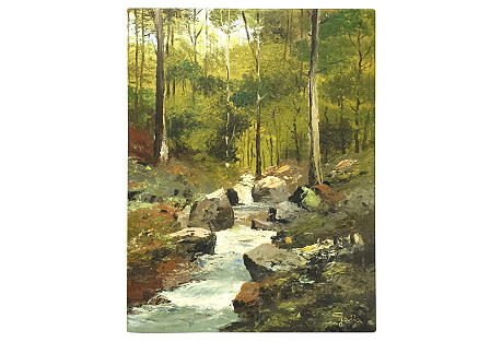 Mountain Stream, Oil on Canvas