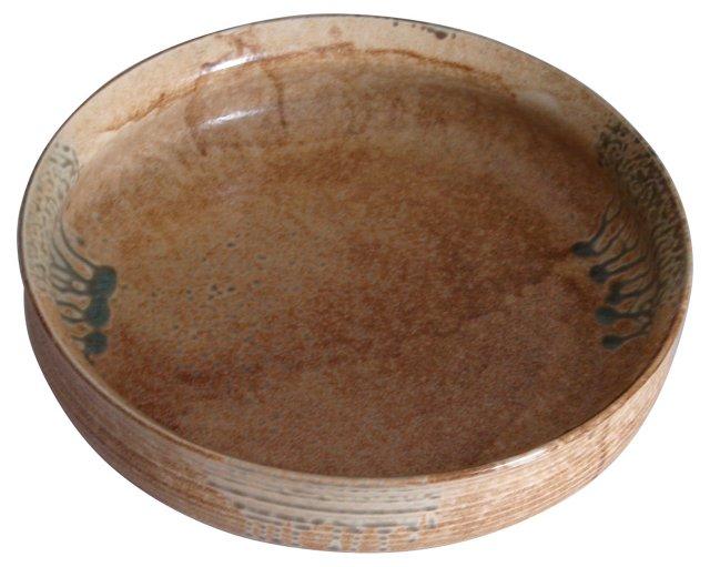 Tan & Yellow Glazed Pottery Bowl