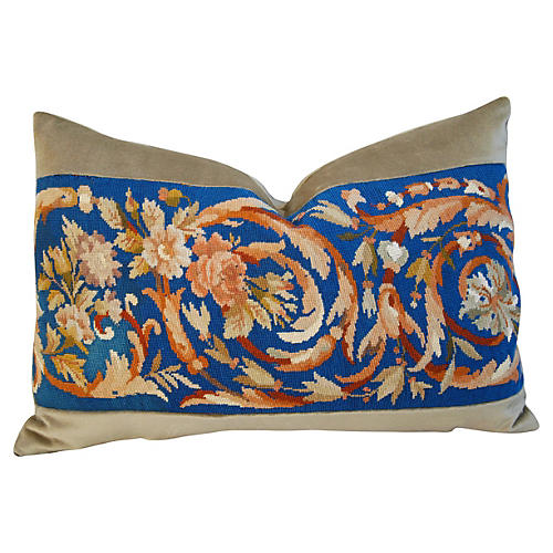 French Needlepoint & Velvet Pillow