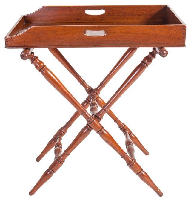 Antique Butler's Tray on Folding Stand