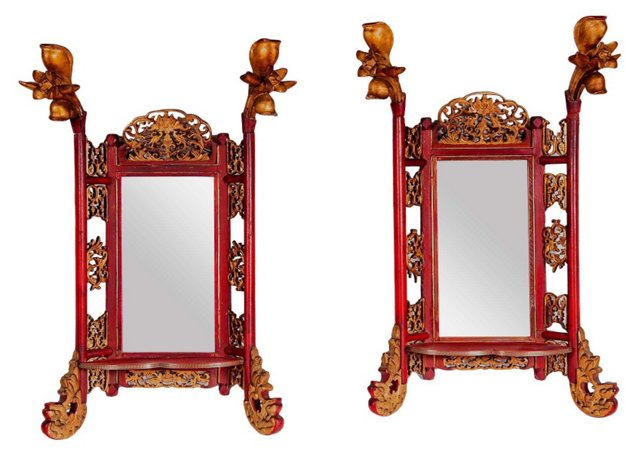 Carved Wood Chinese Mirrors, Pair