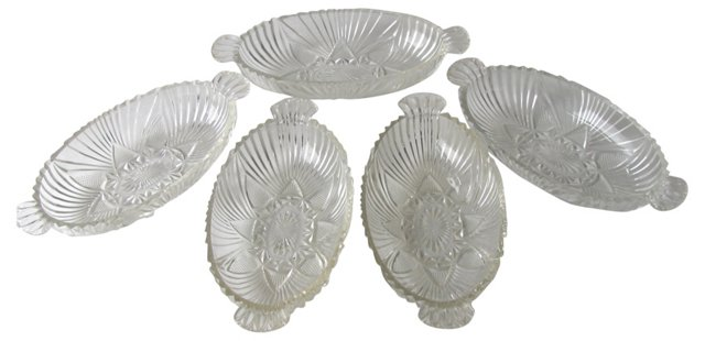 Pressed Glass Ice Cream Dishes, S/5
