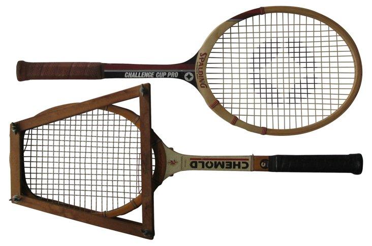 Wood Tennis Racquets,  Pair