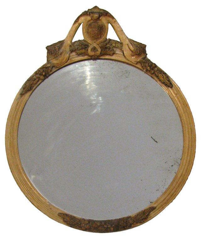 French Ivory Mirror w/ Heraldry Design