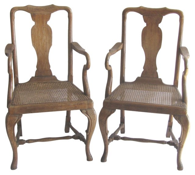 French  Caned Armchairs, Pair