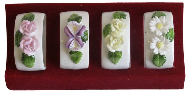 Lefton Bone China Napkin Rings, S/4