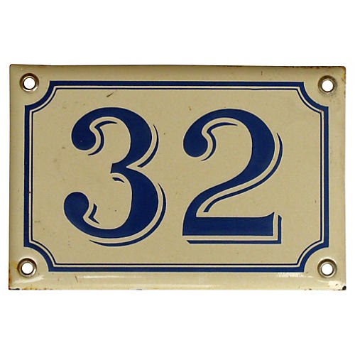 French Enamel House Number, 32