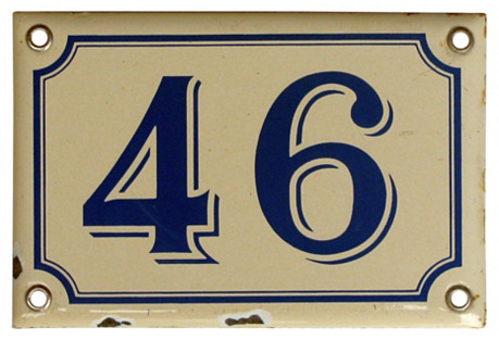 French Enamel House Plaque, 46