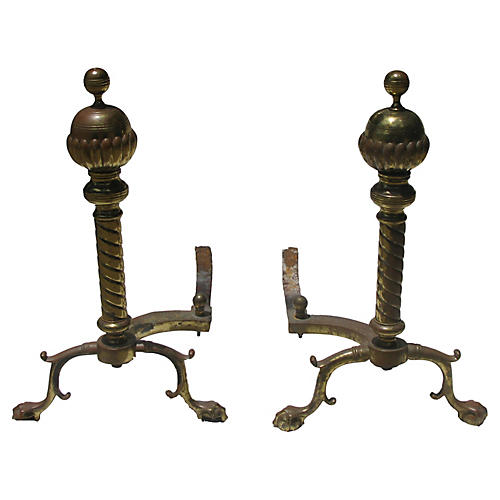 French Brass Andirons w/ Paw Feet, Pair