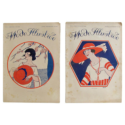 French Fashion Periodicals, c.1920, Pair