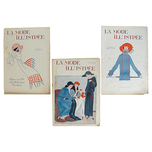French Fashion Illustrations c.1920, S/3