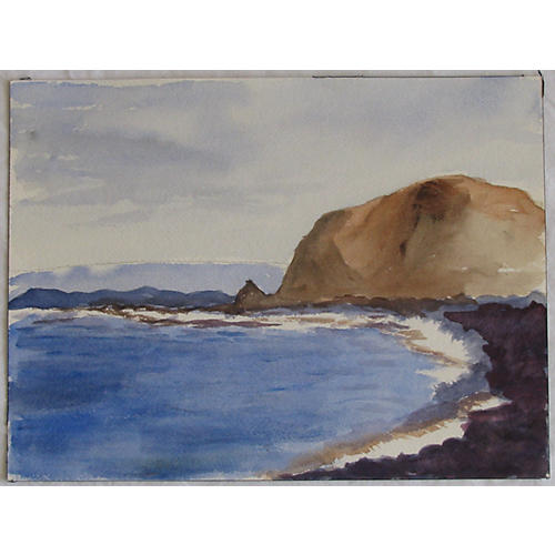 Coastal Watercolor In Blue & Purple