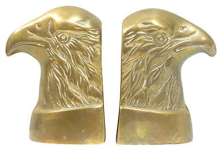 Bald Eagle Brass Bookends, Pair