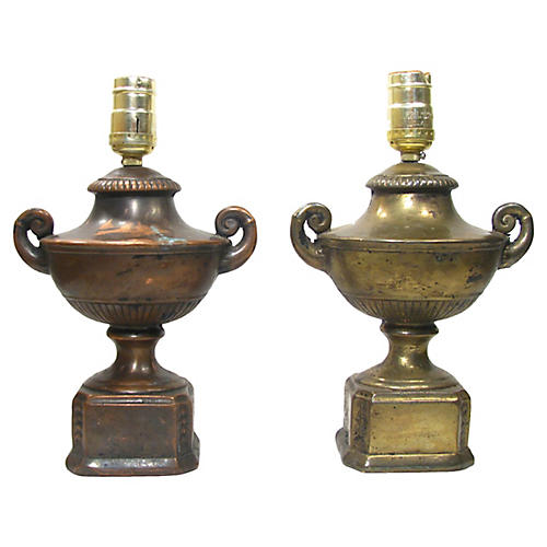 Antique Patinated Urn Lamps, Pair