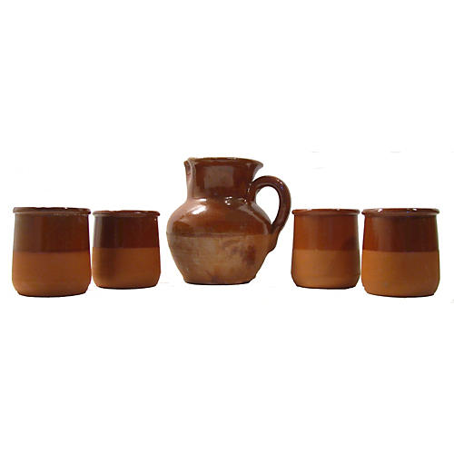 French Terracotta Wine Set, S/5