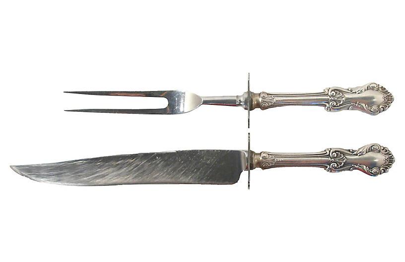 Sterling Silver Carving Set, 2 Pcs