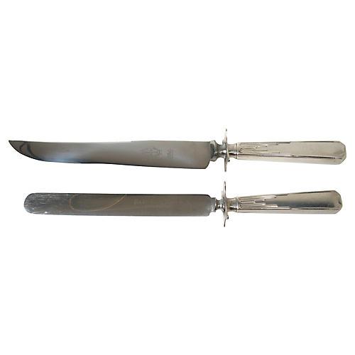 Art Deco Carving & Sandwich Knives, S/2