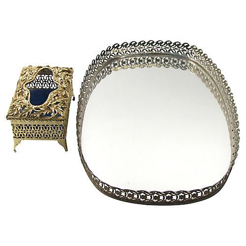 Gilt Mirrored Vanity Tray & Box