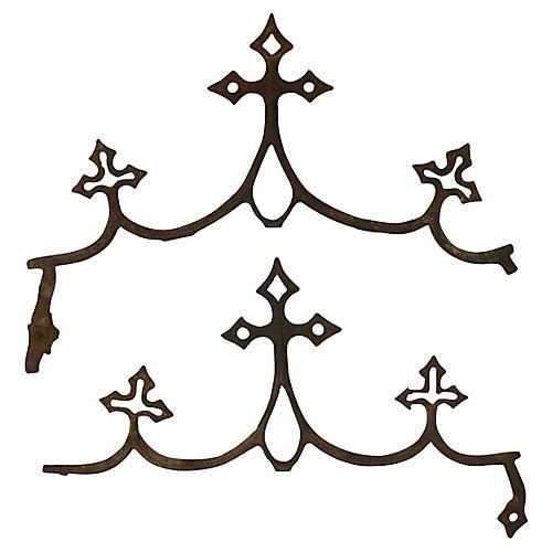 French Fleur de Lys Iron Elements, Pair