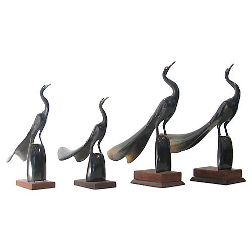Collection of Carved Horn Cranes, S/4