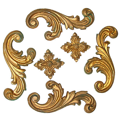 Italian Gilt Plaster Elements, S/6
