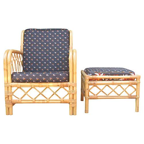 Ficks Reed Rattan Chair & Ottoman