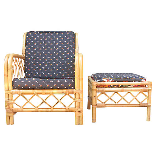Ficks Reed Rattan Chair & Ottoman