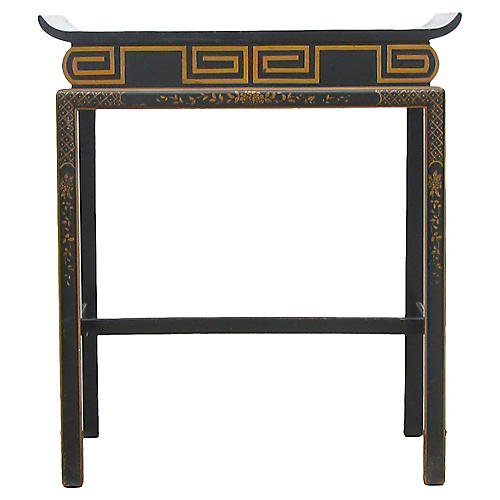 Black Lacquered Accent Table