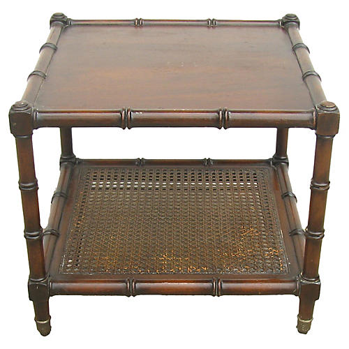 Faux-Bamboo & Caned Side Table