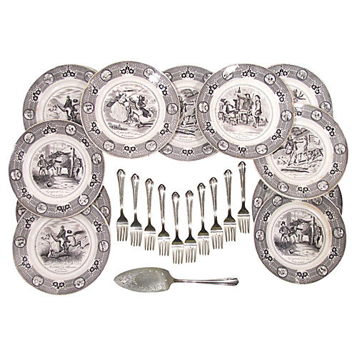 Gien Dessert & Salad Serving Set, 22 Pcs