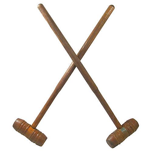 Antique English Croquet Mallets, S/2