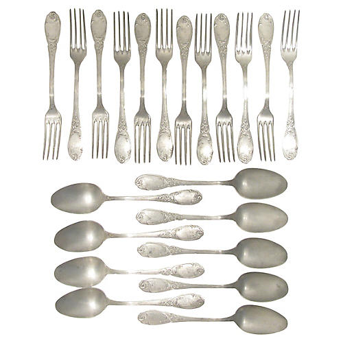 Antique French Pewter Flatware, 21 Pcs