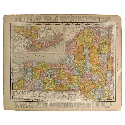 Antique Connecticut & New York Map