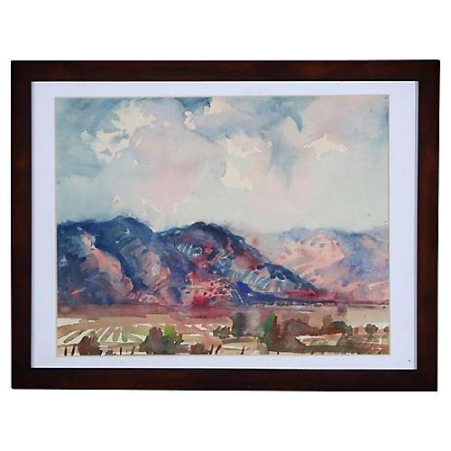 Rod Goebel Taos Fields Watercolor