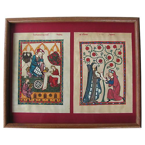 Framed Medieval Style Manuscripts