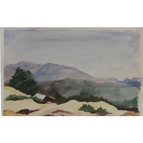Mountain Watercolor Landscape