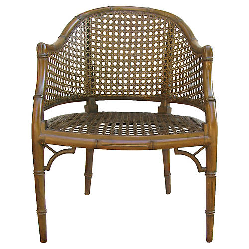 Chinoiserie Faux-Bamboo & Caned Armchair